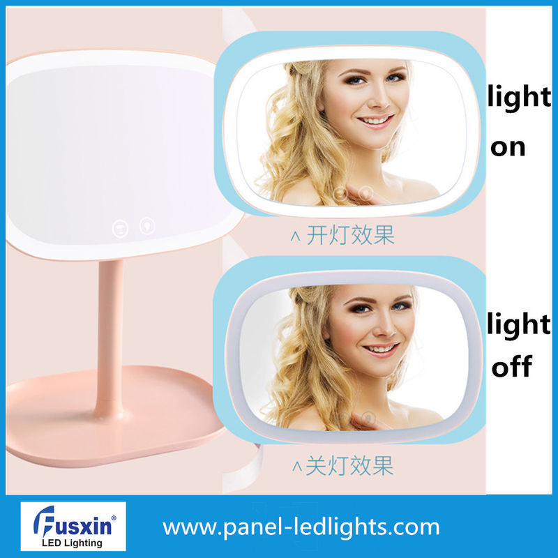 Small LED Table Portable Makeup Mirror With Lights 4pcs AA Battery Power