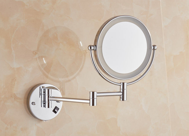 Led Swivel Bathroom Mirror For Hotel Service , Single Side Tri Fold Makeup Mirror