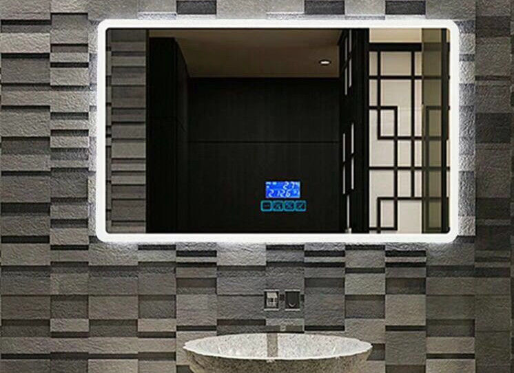 Customized frameless Mirror Smart Touch Screen Mirror Lighted Bathroom Vanity Wall Mirror For Hotel