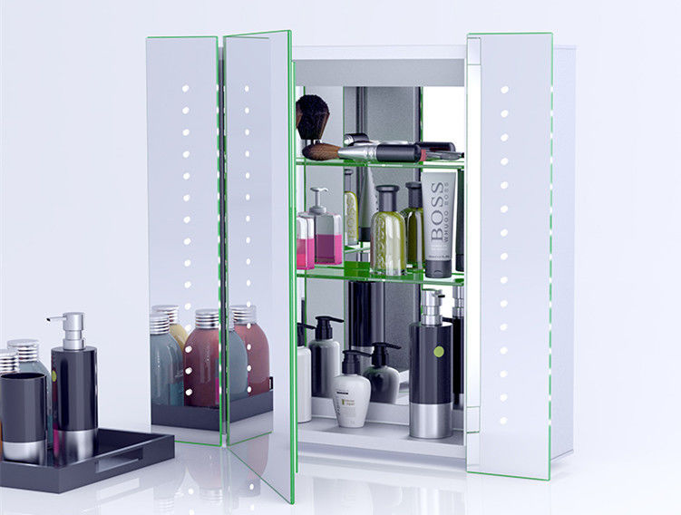 Illuminated Bathroom Mirror Cabinet With Lights And Shaver Socket Wall Mounted