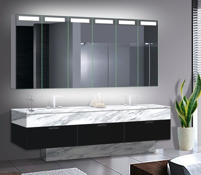 Big Size LED Mirror Cabinet With Aluminum Body / Stainless Steel Optional