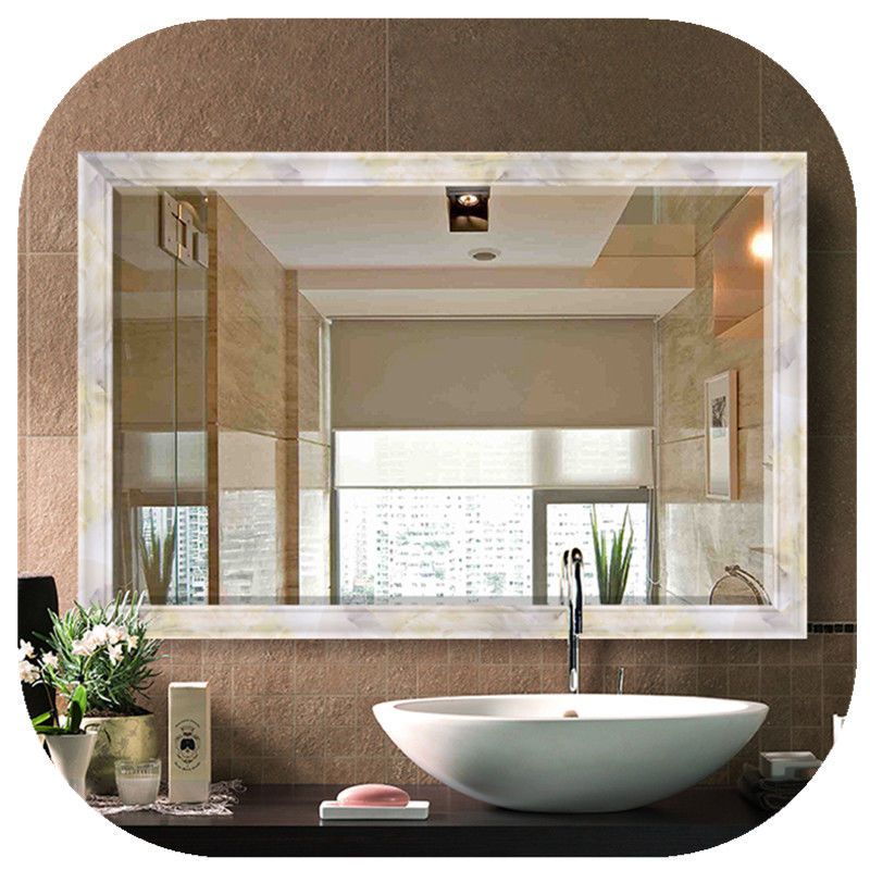 Modern Rectangular Silver Led Behind Mirror 110X80 Cold White Wall Vanity Mirror With Lights