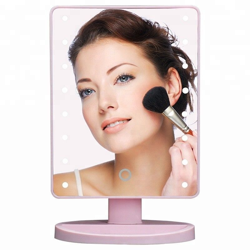 Pink Rectangular led lighted vanity makeup mirror with touch sensor dimming